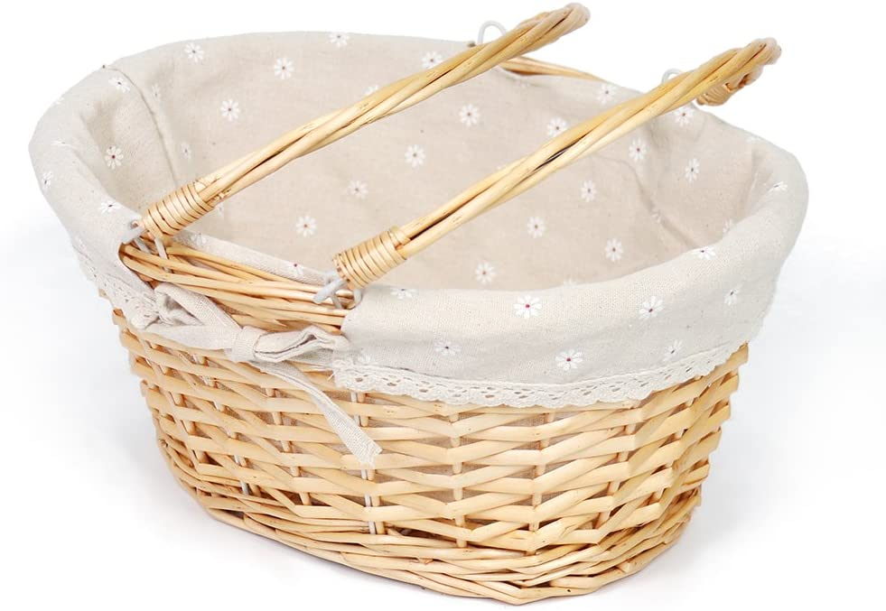 MEIEM Wicker Basket Gift Baskets Empty Oval Willow Woven Picnic Basket Easter Candy Basket Large Storage Basket Wine Basket with Handle Egg Gathering Wedding Basket (Natural)