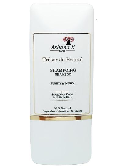 Champú natural vegan Purifiant y tonificante Ashana.B Paris AU jabón negro, Karité y