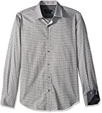 BUGATCHI Men's Cotton Shaped Fit Long Sleeve Woven, Black, XX-Large