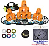 Speed Stacks Combo Set ''The Works'': 12 NEON ORANGE 4'' Cups, REBEL MUDD Gen 3 Mat, G4 Pro Timer, Cup Keeper, Stem, Gear Bag, 6 Snap Tops + Active Energy Necklace