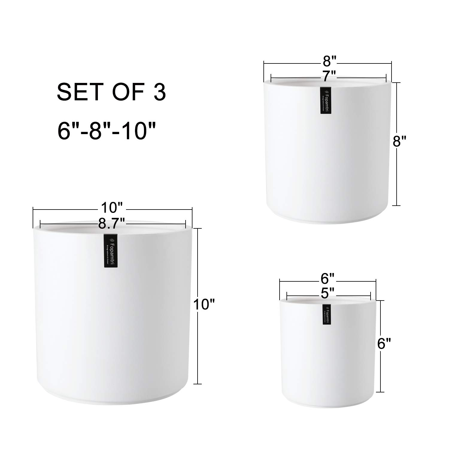 Plant Pot by Fopamtri Matte White Ceramic Planter for Indoor Outdoor Plants Flowers 8 Inch Large Modern Cylinder Flower Pot with Drainage Hole and Plug,Full Glazed Finish
