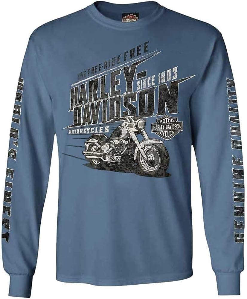 Harley-Davidson Speedshift - Camiseta de Manga Larga para Hombre (Cuello Redondo, algodón), Color Azul - Azul - X-Large: Amazon.es: Ropa y accesorios
