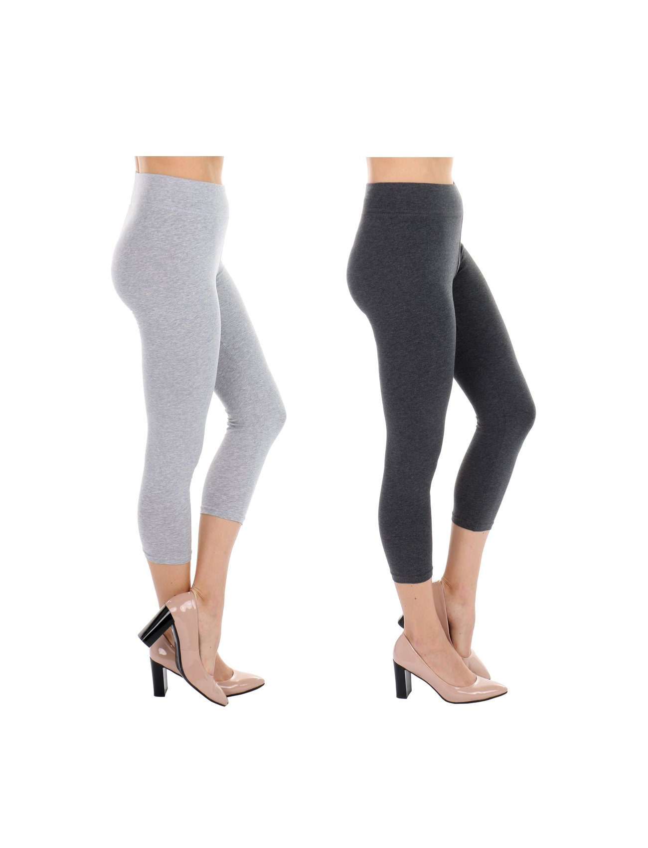 TODAY SHOWROOM Cotton Capri- Non See Thru Fabric-Yoga Waist Cropped Leggings (2pk (H.Grey/Charcoal), Large)