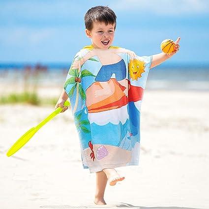 cda41fc1e7 Tirrinia Kids Hooded Poncho Surf Beach Bath Swim Towel 100% Cotton for 1-6  Years Boys Gift, 24 by 52-inch