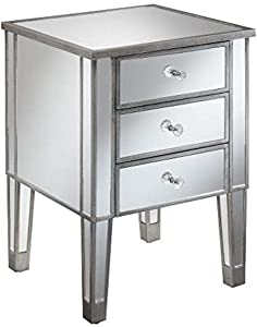 Convenience Concepts Gold Coast 3-Drawer End Table, Mirror/Antique Silver