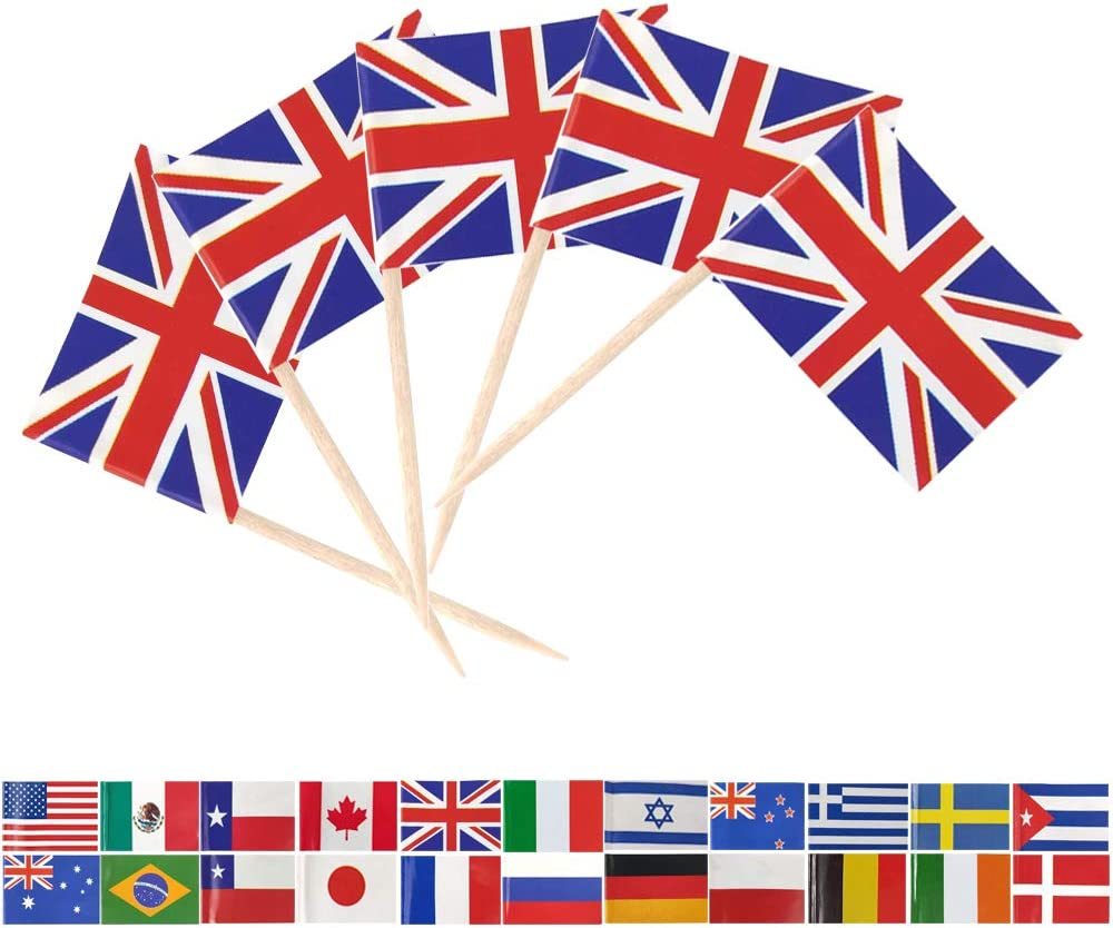 Tectsia UK Country British Toothpick Flag, United Kingdom Flags, 100 Pcs Britain Cupcake Toppers Flag, Small Mini Stick Flags Picks Party Decoration Celebration Cocktail Food Bar England Cake Flags