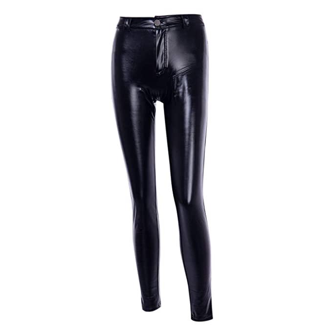 Woman Fashion Elastic Waist Faux Leather Skinny Stretch Pants Slim Fit Leggings