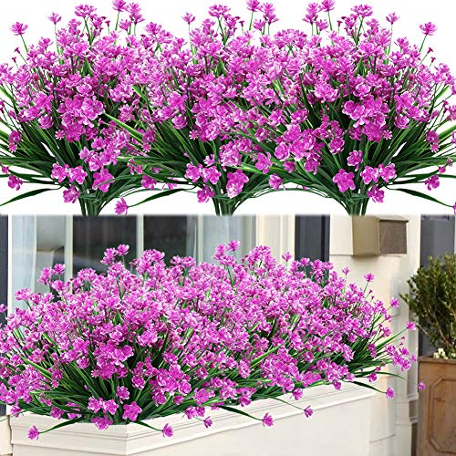 Pink 6Pcs Outdoor Artificial Flowers UV Resistant No Fade Fake Violet Flowers for Indoor Outside Hanging Plants Garden Patio Porch Window Box Home Wedding Farmhouse Decor