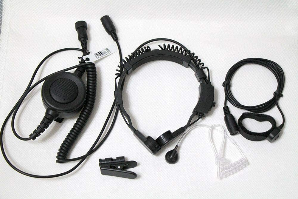 WishRing Military Throat Mic Headset Earpiece Waterproof Big PTT for Kenwood Radio 2 PIN