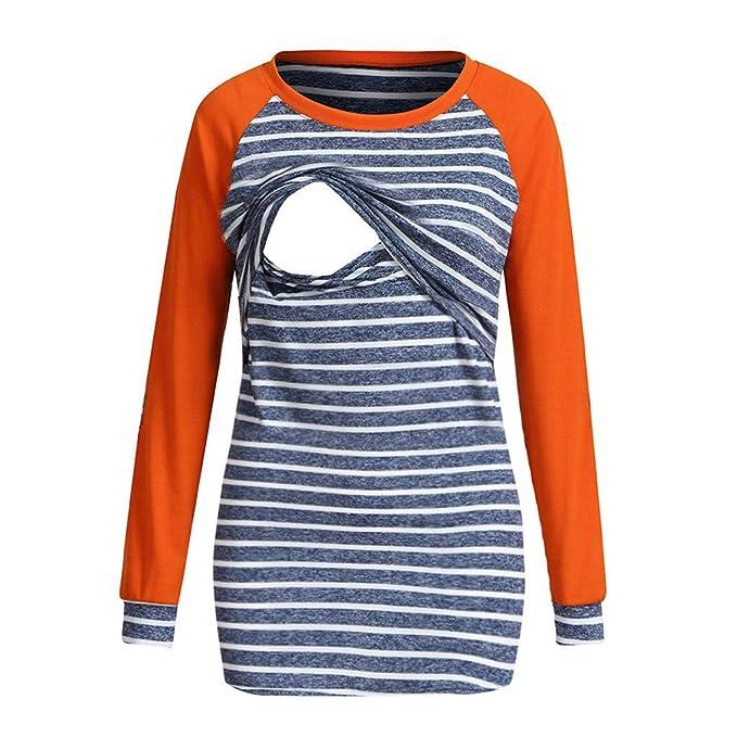 Smallshow Nursing Tops 2 in 1 Women/'s Long Sleeve Cardigan Breastfeeding Shirt