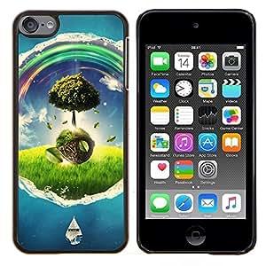 KLONGSHOP // Cubierta de piel con cierre a presión Shell trasero duro de goma Protección Caso - Wonderland Universo árbol Colores - Apple iPod Touch 6 6th Touch6 //