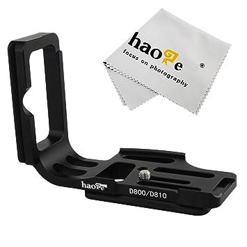 haoge Vertical Cámara QR placa en L de liberación rápida de disparar Bracket Soporte para cuerpo