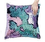 ANKIT Mermaid Pillow Reversible Sequin Pillow that Changes Color - Aqua Purple