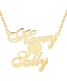 4dd442440ec87a EVER2000 Custom Name Necklace, 18K Gold Plated Nameplate Personalized  Jewelry Gift for Women