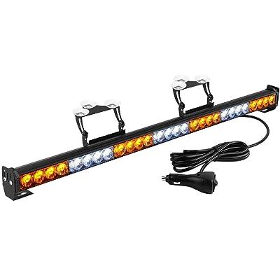 YITAMOTOR Traffic Advisor Light Bar Amber White 30 Inch 28 LED Hazard Emergency Warning Directional Strobe Light Bar with Suction Cups, Cigarette Lighter Plug (12V-24V, Amber/White): Automotive