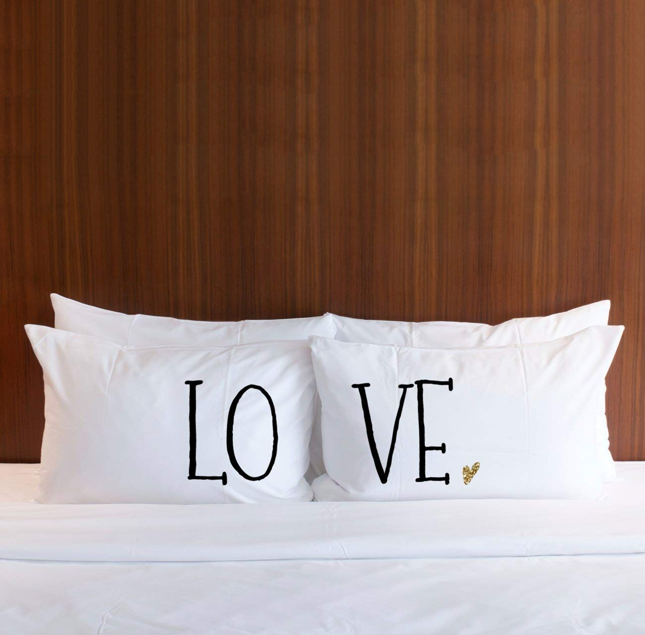 LOVE Gold Glitter Accented Decor for Bedroom Gift for Bride Wedding Bridal Shower Anniversary for Him or Her Pillowcases for Couples