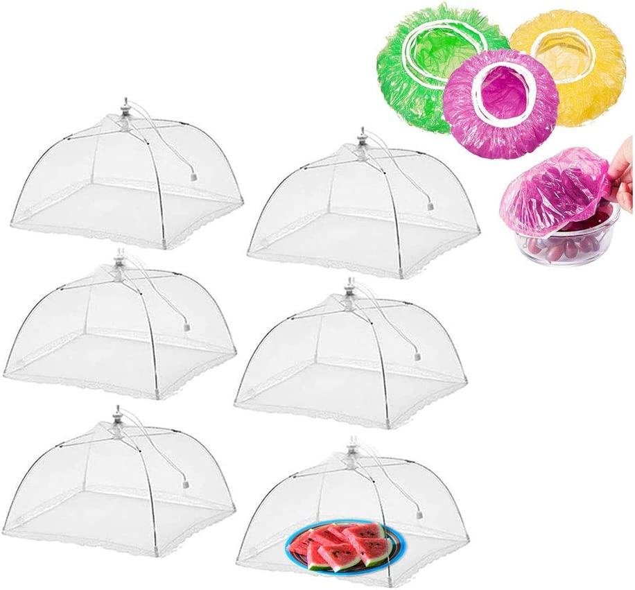6 Pack Large 17 Inches Pop-Up Food Cover Tent, Encrypted Mesh Food Domes Protector Umbrella, Bug Screen Net With 15 Pcs Elastic Plate Covers For Outdoor Picnic, Party, BBQ, Reusable And Collapsible