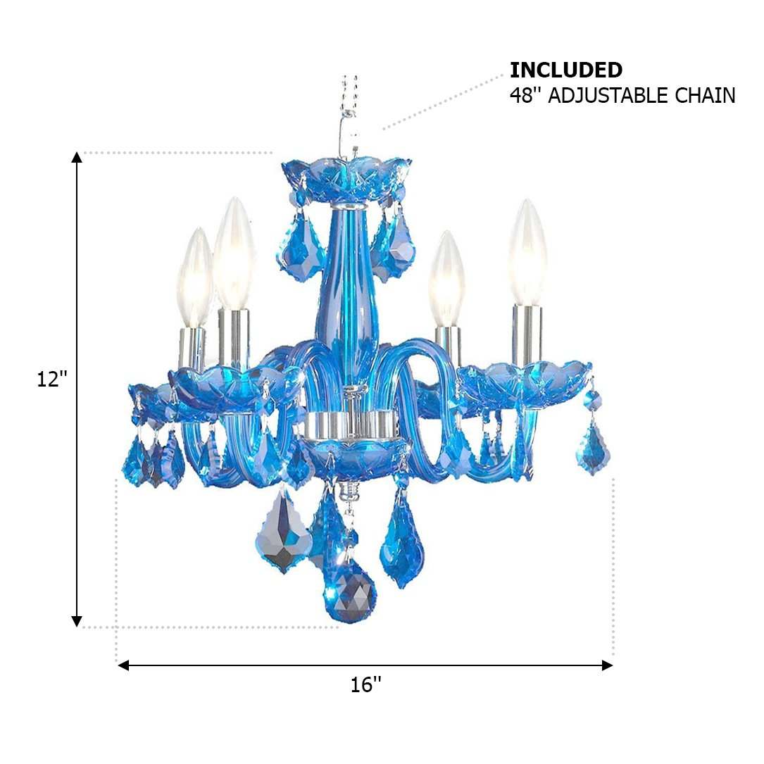 Worldwide Lighting W83100C16-SP Clarion 4 Light Mini Crystal Chandelier, Chrome Finish and Crystal Chandelier, 16 x 16 x 12 , Sapphire Blue