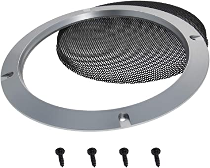 Fielect 4 Pcs 3.5inch //95mm Speaker Grill Mesh Decorative Circle Woofer Guard Protector Cover Audio Accessories Metal Trim Silver