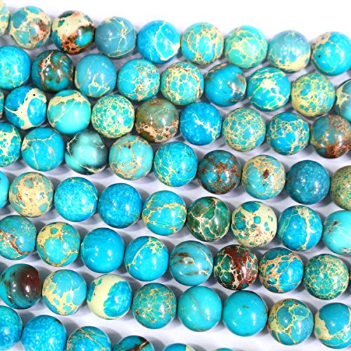 Jasper 6 Mm Gemstone - Natural Genuine Blue Sea Sediment Jasper Round Gemstone Jewelry Making Loose Beads (6mm)