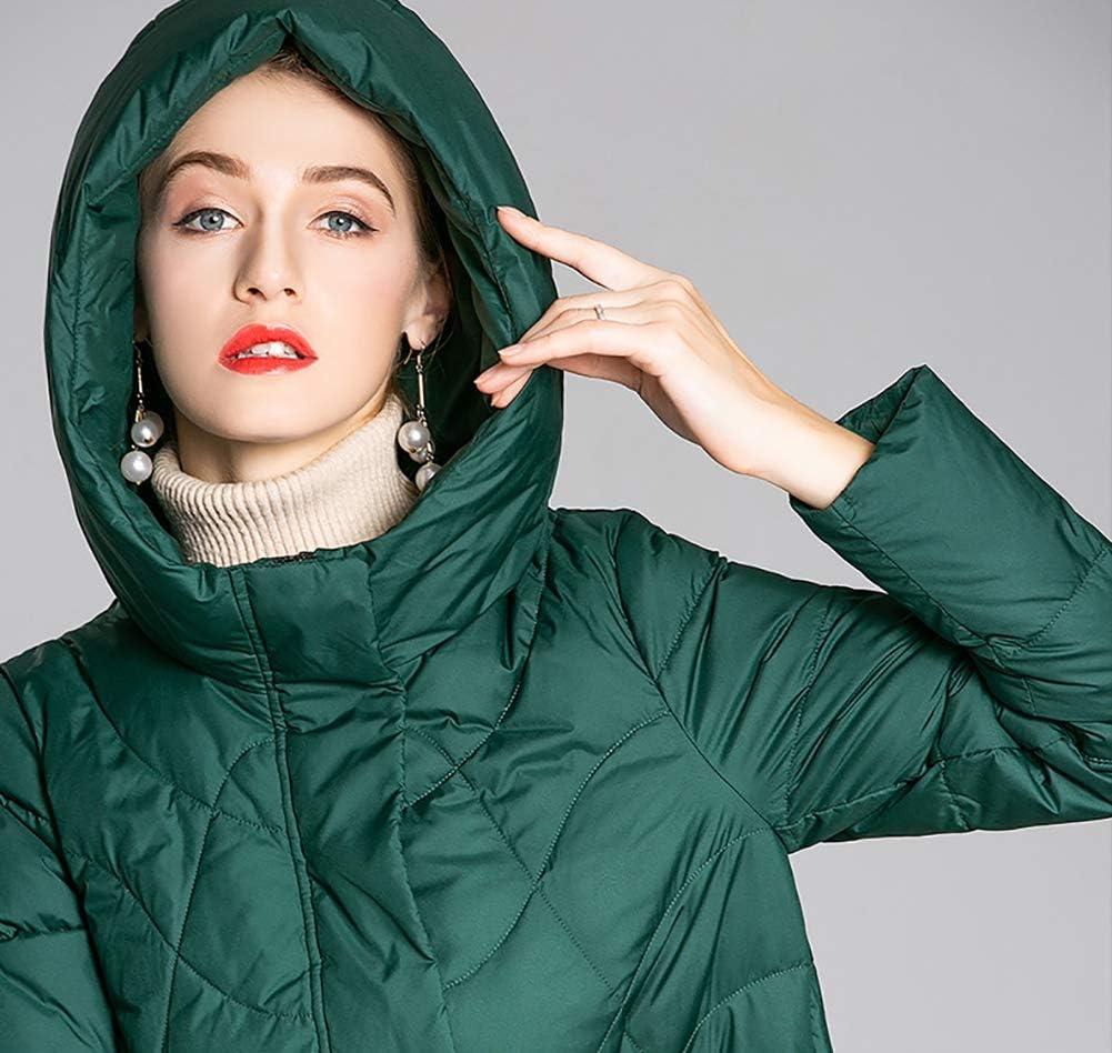 HQEFC Cappotti Invernale da Donna Parka Outdoor Jacket, Giacca con Cappuccio con Due Tasche Frontali per Escursioni Green