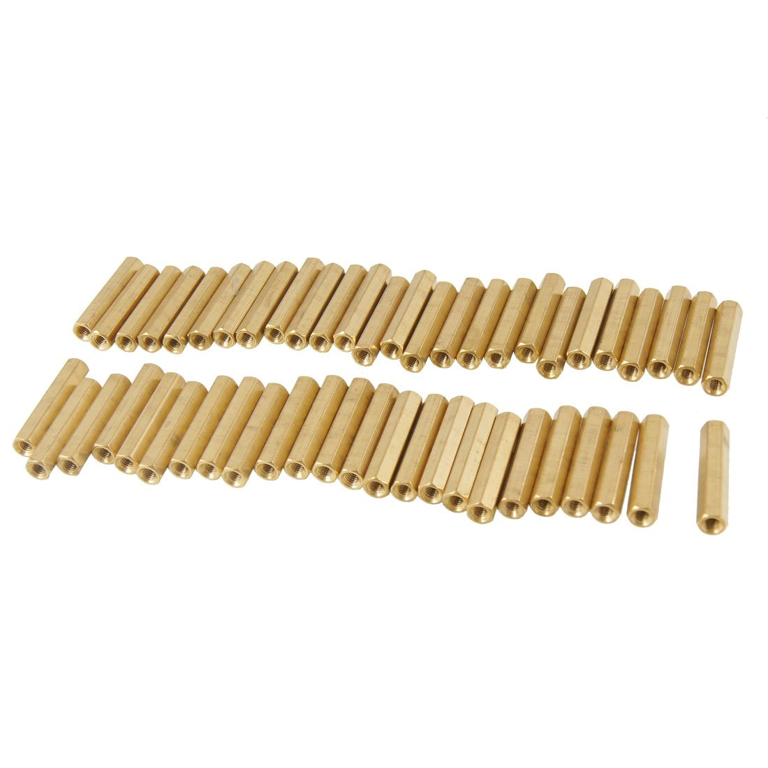 50 Pcs M3X25mm Hexagonal Head Female Thread PCB Brass Standoff Spacers Sourcingmap a12092200ux0074