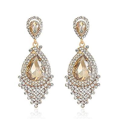 Amazon long tassel drop earrings full rhinestone crystal long tassel drop earrings full rhinestone crystal chandelier dangle earrings style02 aloadofball Image collections