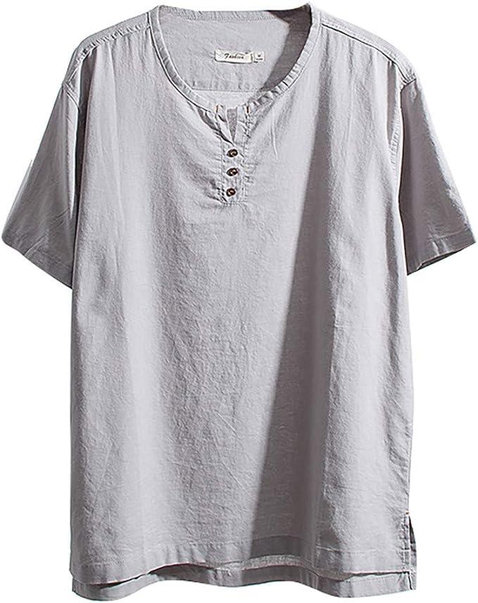 Jumaocio Mens Cotton Solid Linen Color Short Sleeve Casual T Shirts