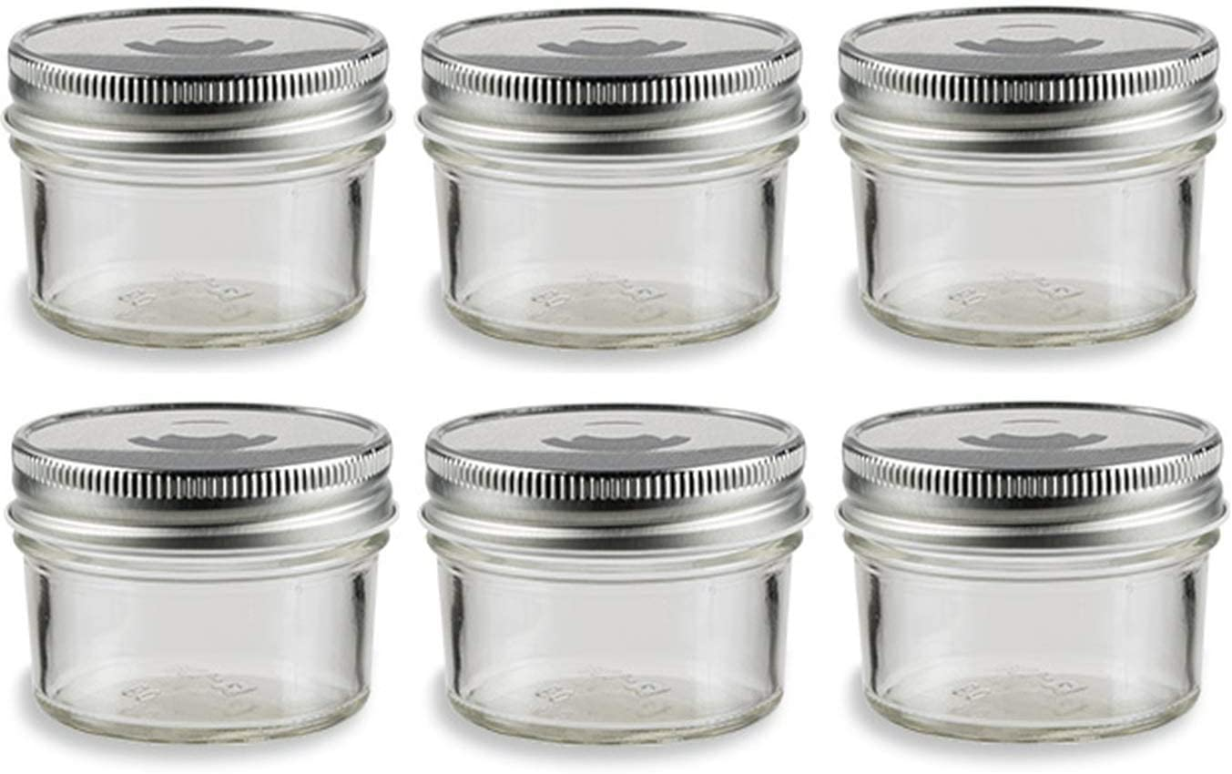 Nakpunar 6 pcs, 4 oz Mason Glass Jars with Silver Lids