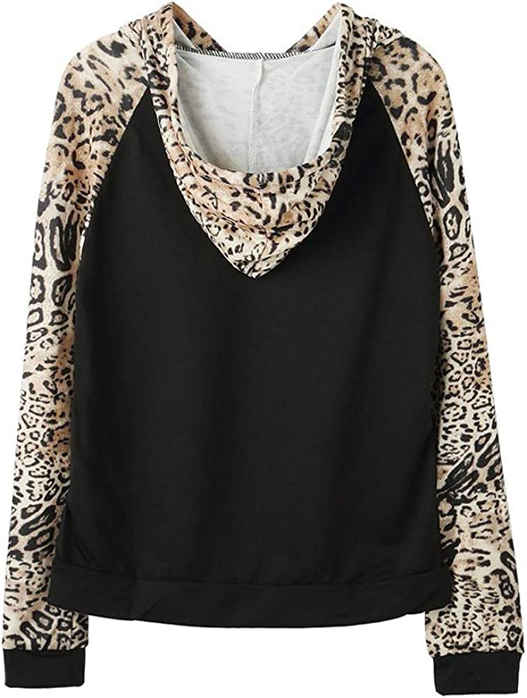 Cathalem Womens Pollover Long Sleeve Leopard Color Patchwork Jumper Sweater Blouses Tunic Tops Sweatshirt