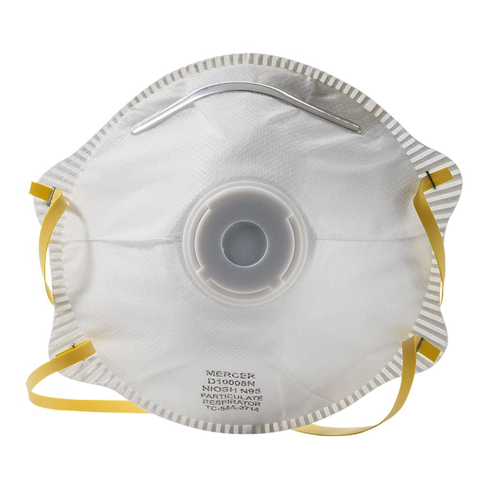 Mercer Industries D10008N N95 NIOSH Approved Particulate Respirator with Valve, 10 Pack by Mercer Industries