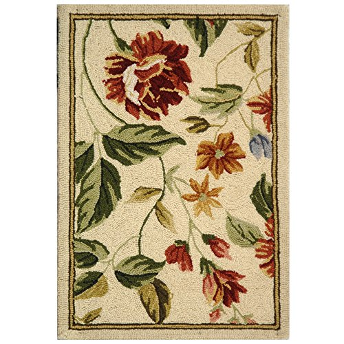 "Safavieh Chelsea Collection HK117A Hand-Hooked Ivory and Beige Premium Wool Area Rug (1'8"" x 2'6"")"