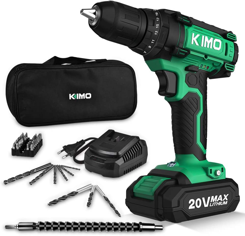 Cordless Drill Driver Kit, 20V Max Impact Hammer Drill Set w Lithium-Ion Battery, Fast Charger, 21 1 1 Clutch, 330 In-lb Torque, Variable Speed Built-in LED for Drilling Walls, Bricks, Wood, Metal