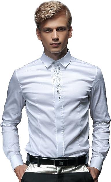 FANZHUAN Camisa Blanca Entallada Camisa Vestir Camisa Hombre Slim Fit Blanca: Amazon.es: Ropa y accesorios