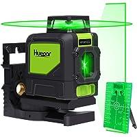 Nivel láser autonivelante Huepar 901CG, herramienta láser de línea de cruce de haz verde 360, alineación línea horizontal de 360 grados con modo Pluse, base giratoria magnética incluida