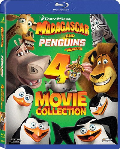 Madagascar 1-3 Trilogy + Penguins Of Madagascar 4 Movie Collection Blu-Ray Set (Region A) (Hong Kong Version / Chinese subtitled) (Animated Movie Collection)