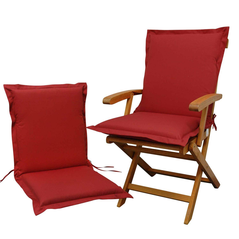 Indoba 2 x Sitzauflage Niederlehner Premium-extra dick Serie Premium-IND-70431-AUNL-2 Polsterauflage, Rot