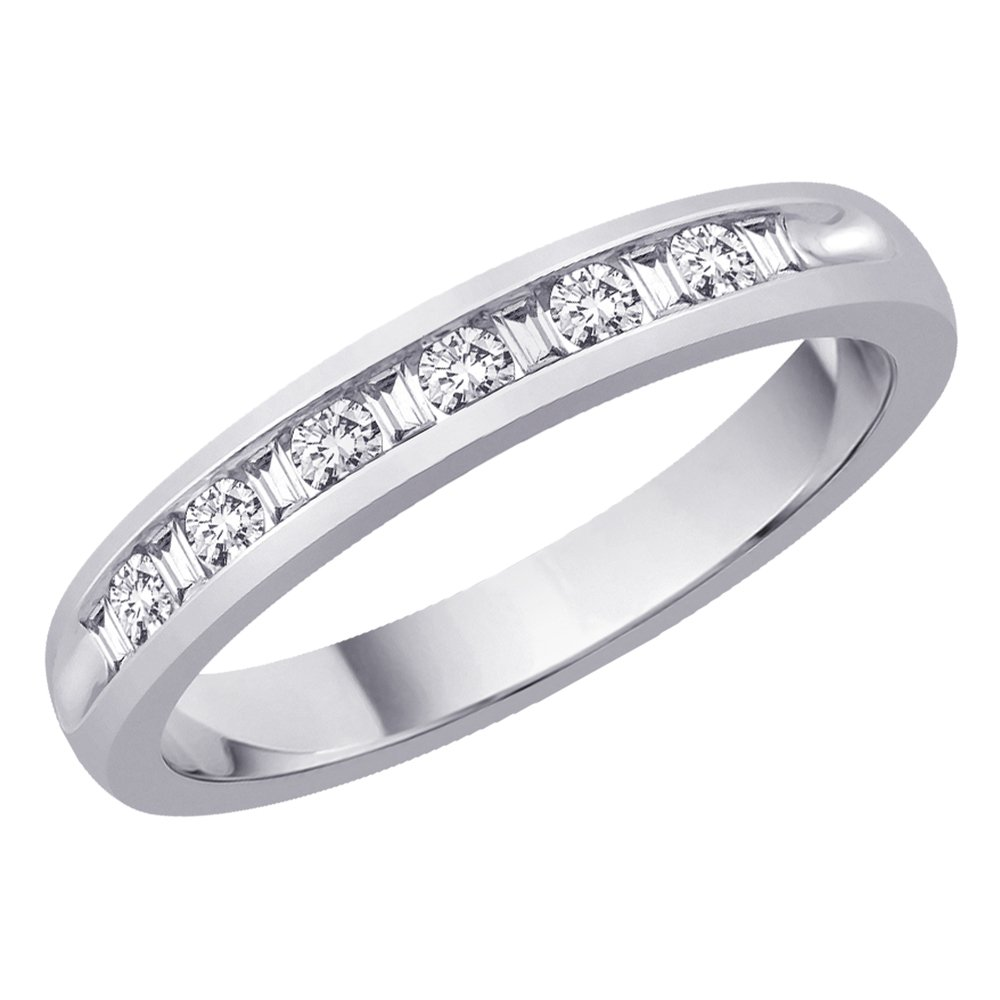 Round and Baguette Cut Diamond Wedding Band in Sterling Silver (1/10 cttw)(Color-JK I2/I3 Clarity) (Size-5)
