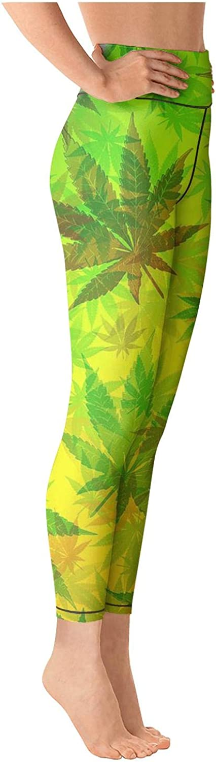 Eoyles gy Attractive Women High Waist Ultra Soft Marijuana Weed Leaves Workout Pants for Yoga Leggings