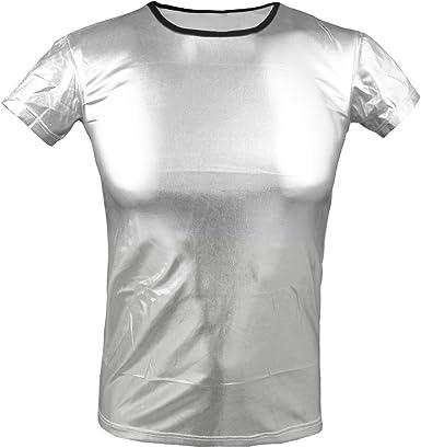 iiniim - Camiseta de charol para hombres, manga corta, aspecto mojado Plateado plata S (Pecho:80 cm- 104 cm): Amazon.es: Ropa y accesorios
