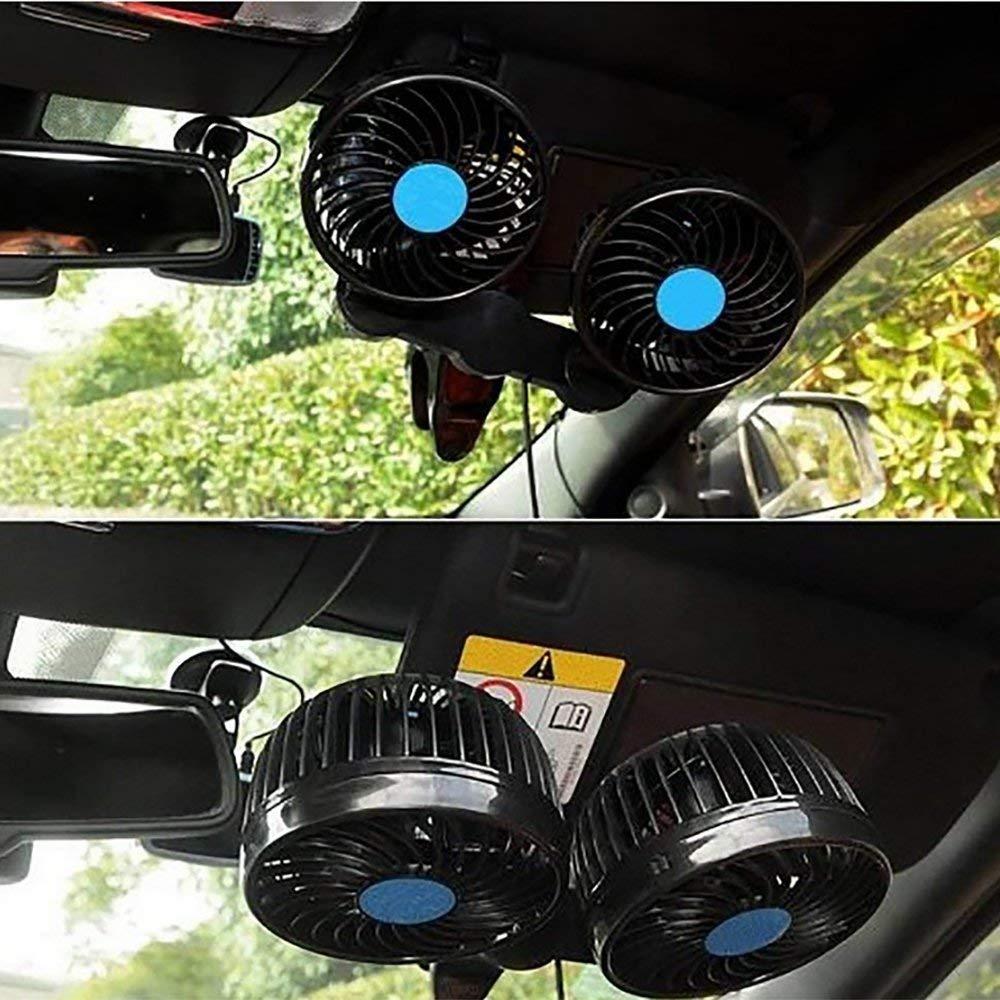 Fsan Auto Ventilador de Aire de Enfriamiento Autom/ático Potente Tranquilo Cambio de Velocidad de Stepless Rotativo 12 V Ventiladores de Coche,Negro Modelo HX-T605E