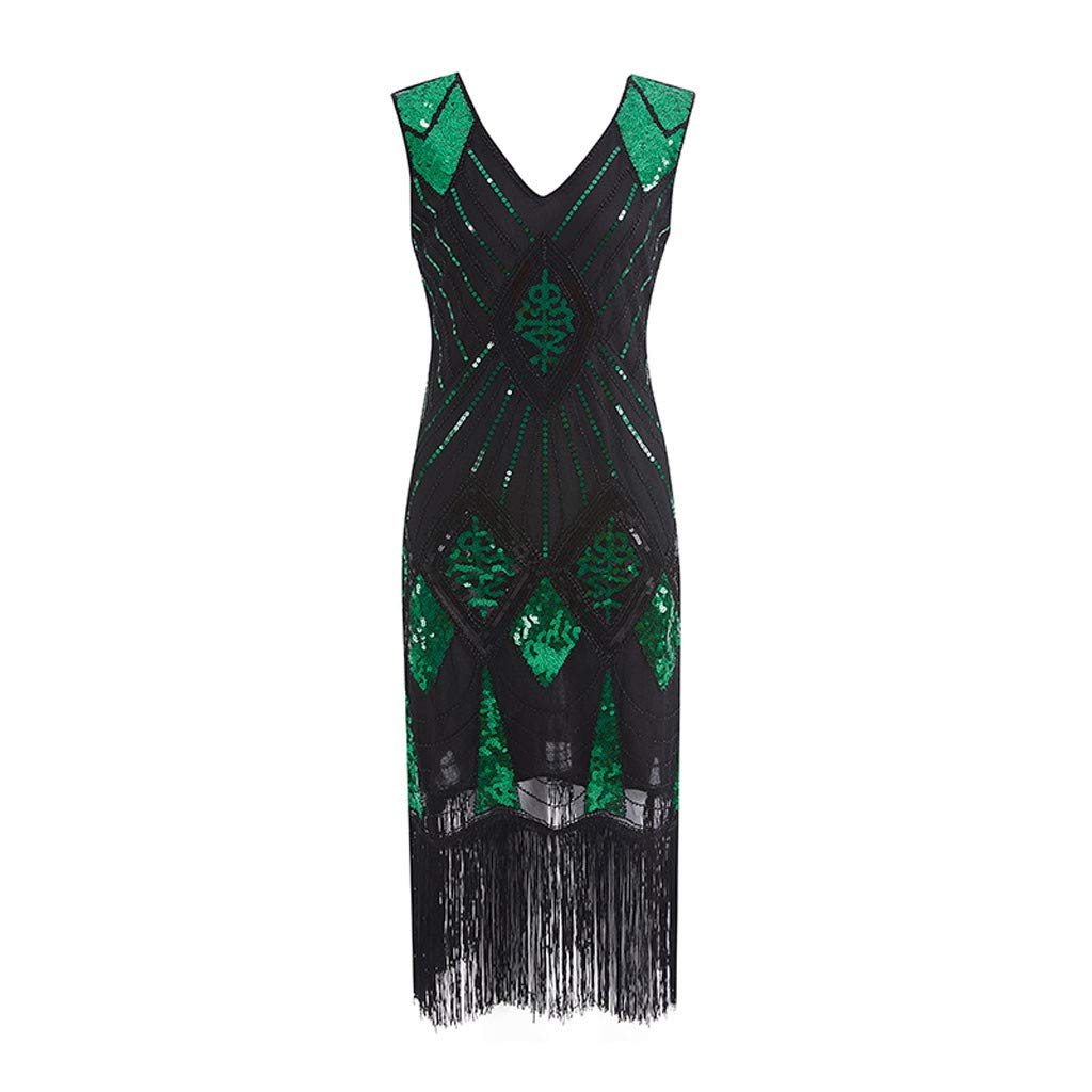 Masquerade Dresses for Women 1920s Vintage Flapper Fringe Beaded Great Gatsby Party Dress (Green,S)