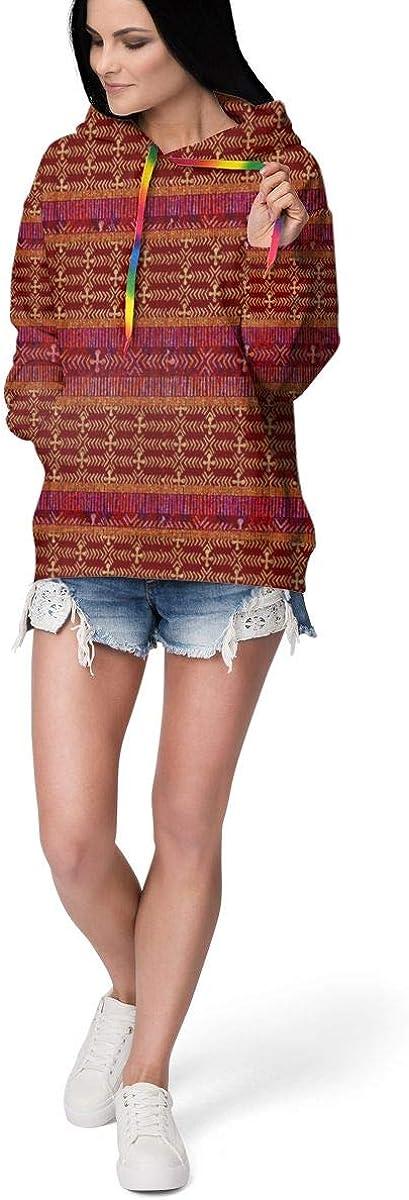 Womens Hoodie Sweatshirt Pullover African Coordinate Casual Hooded Tops