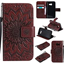 A5 (7) Wallet Case,IVY [Sun Flower] Galaxy A5 PU Leather Cover Wallet Phone Case For Samsung Galaxy A5 2017 SM-A520 - Brown