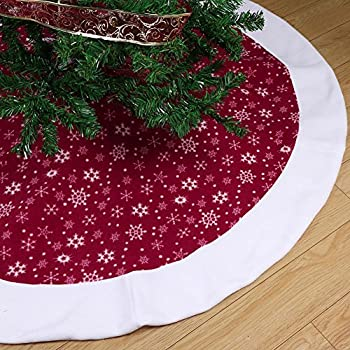 Aytai Non Woven Christmas Tree Skirt 48 Inches Traditional Red And White Snowflakes