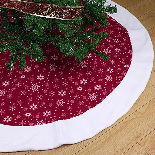 Aytai Non-woven Christmas Tree Skirt 48 inches, Traditional Red and White Snowflakes Tree Skirt for Christmas (Snowflake Tree Skirt)