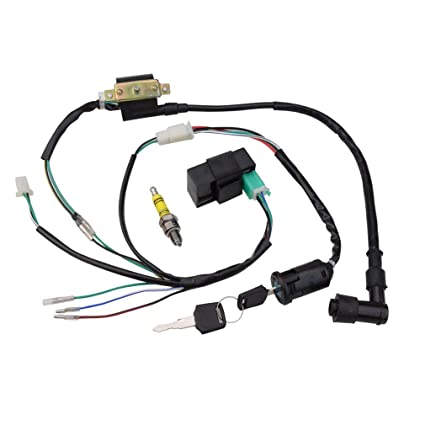 amazon com: goofit ignition rebuilt kit wiring harness for 50cc 70cc 90cc  110cc 125cc stator cdi coil atv quad bike buggy go kart: automotive