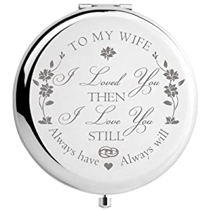 Wife Gifts from Husband Birthday Anniversary, Mothers Day Gifts for Wife, Romantic Presents for Valentines Day Christmas, Engraved Makeup Mirror (My Wife)
