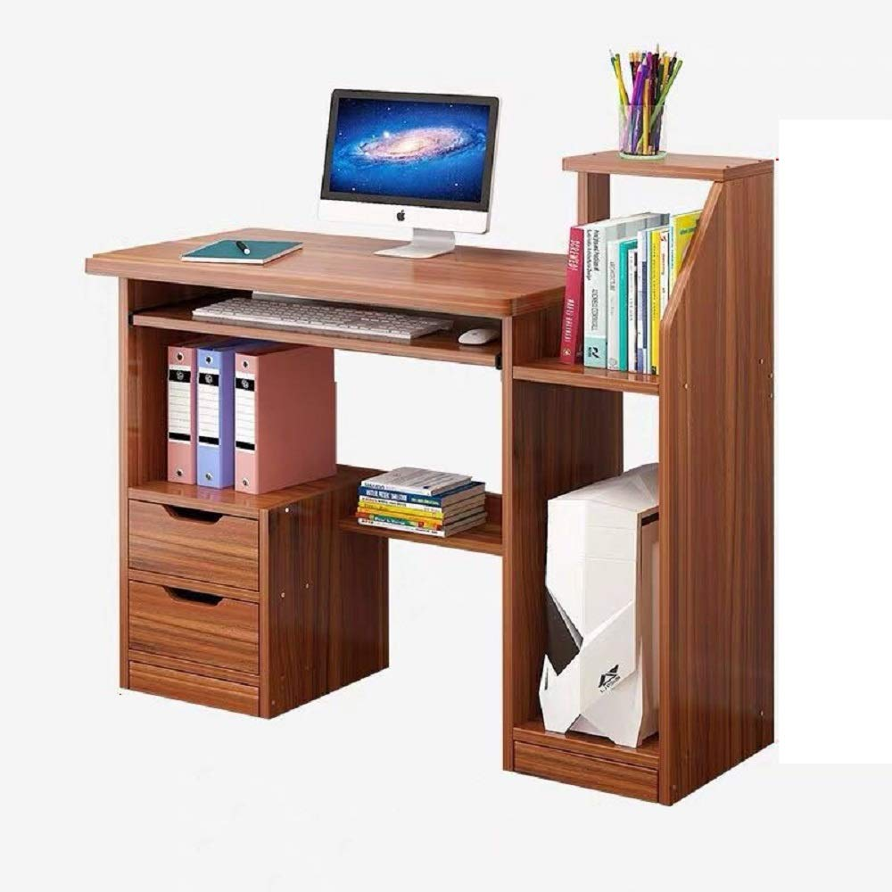 Hicy Computer Workstation Desk with Storage,Home Office Writing Desk (Walnut)