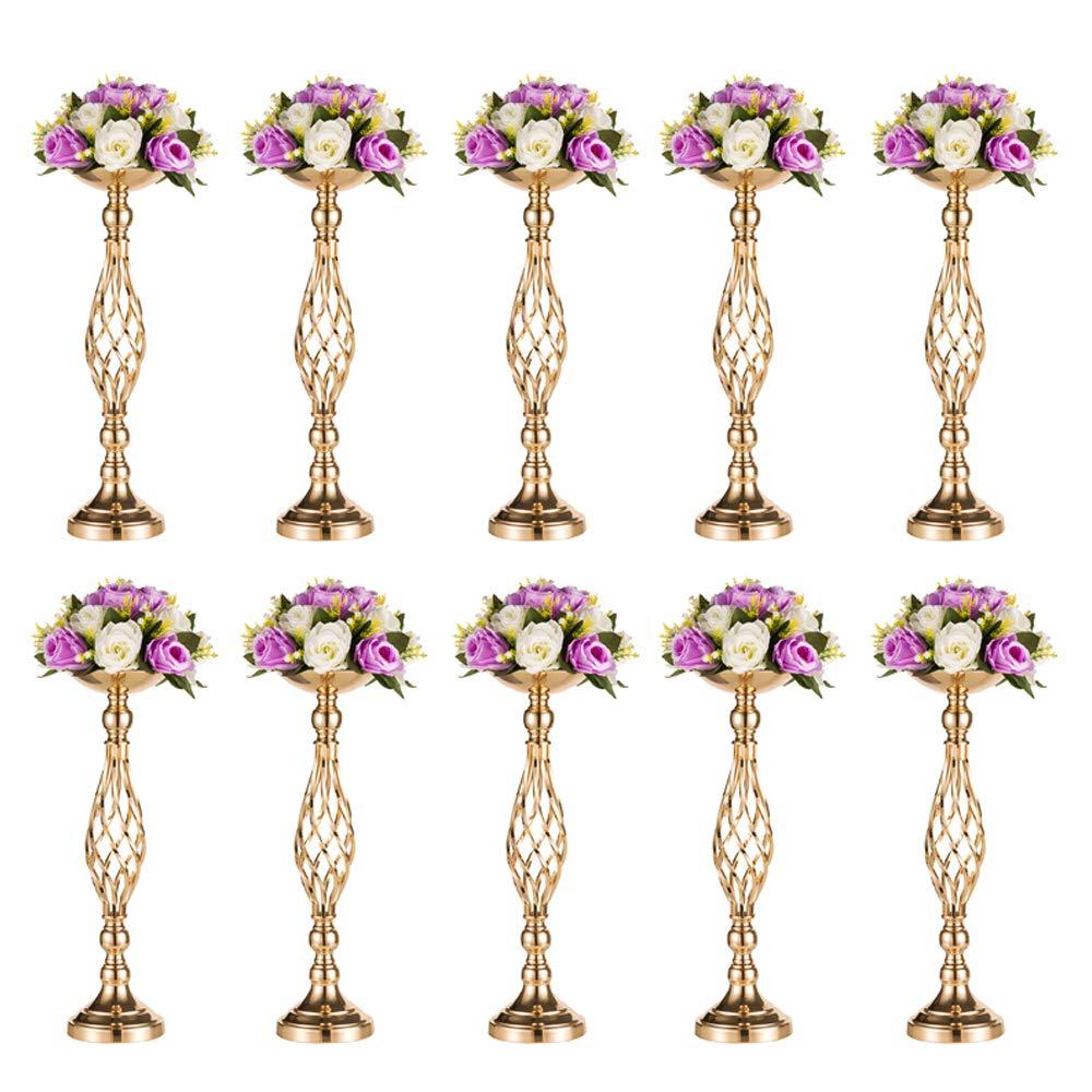 Sfeexun Versatile Metal Flower Arrangement & Candle Holder Stand Set Candlelabra for Wedding Party Dinner Centerpiece Event Restaurant Hotel Decoration (Twist Style, 10 x M)